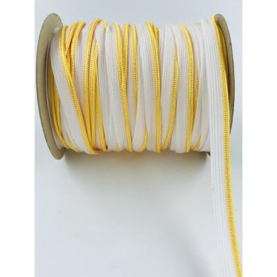 Wypustka ozdobna biała z żółtym  brzegiem
