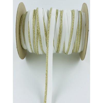 Wypustka ozdobna biała ze złotym  brokatowym brzegiem