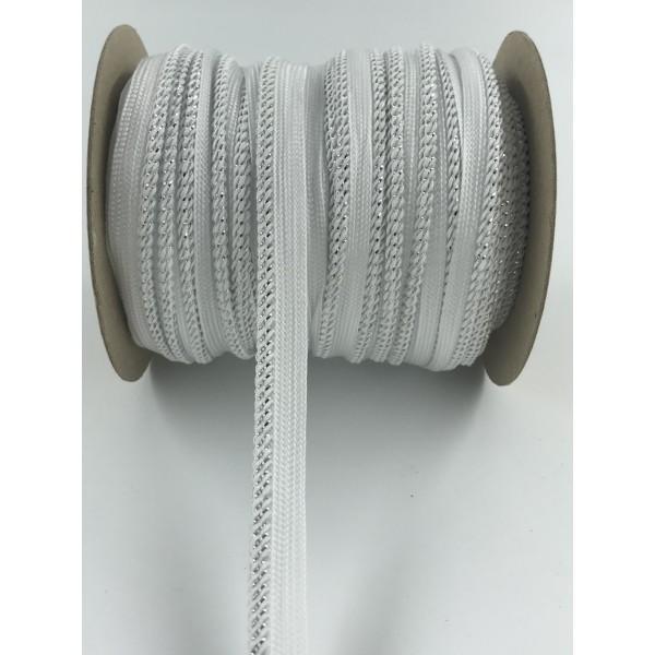 Wypustka ozdobna biała ze srebrnym brzegiem 44