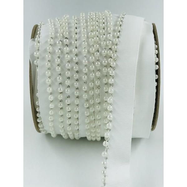 Wypustka ozdobna biała  z perłami10