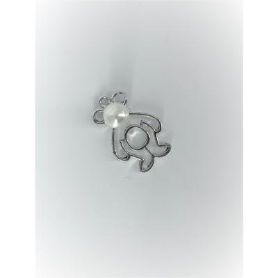 Przywieszka metalowa Misiek z perłą